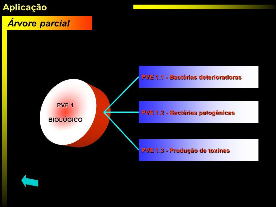 Aplicação Árvore parcial PVE 1.1 - Bactérias deterioradoras PVF 1