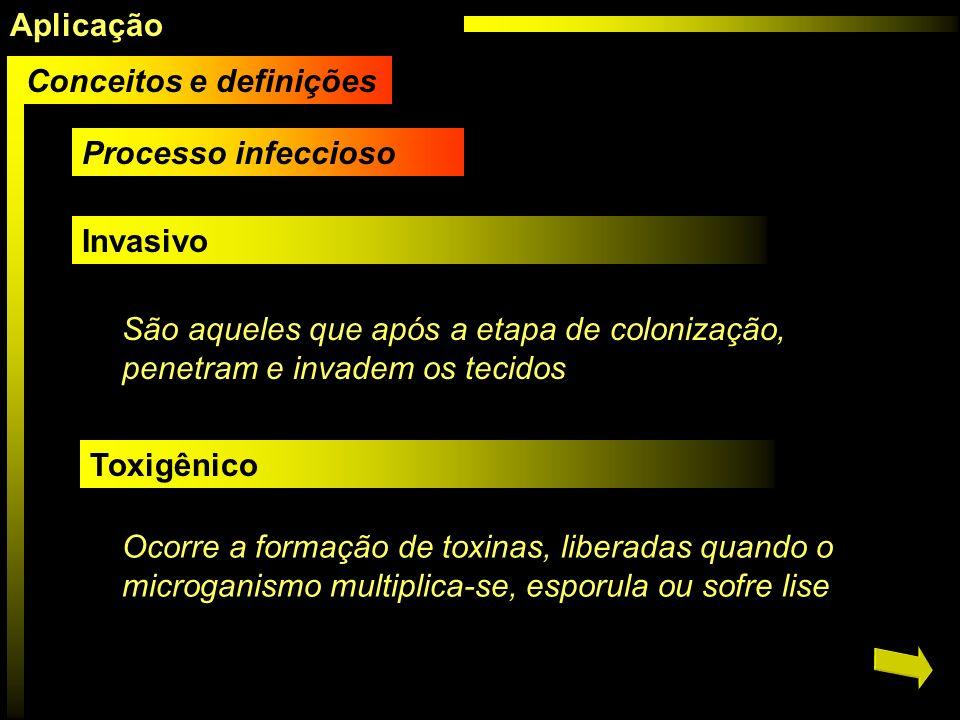 Aplicação Conceitos e definições. Processo infeccioso. Invasivo. São aqueles que após a etapa de colonização, penetram e invadem os tecidos.