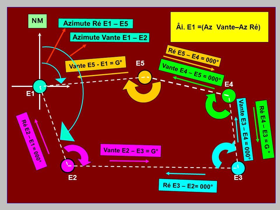 Âi. E1 =(Az Vante–Az Ré) NM Azimute Ré E1 – E5 Azimute Vante E1 – E2