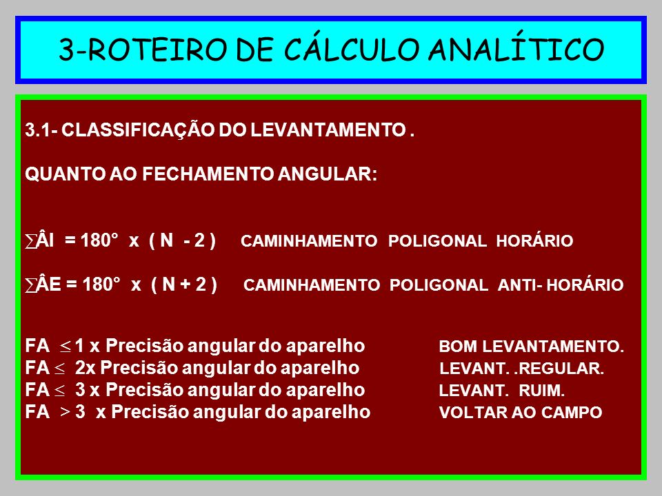 3-ROTEIRO DE CÁLCULO ANALÍTICO