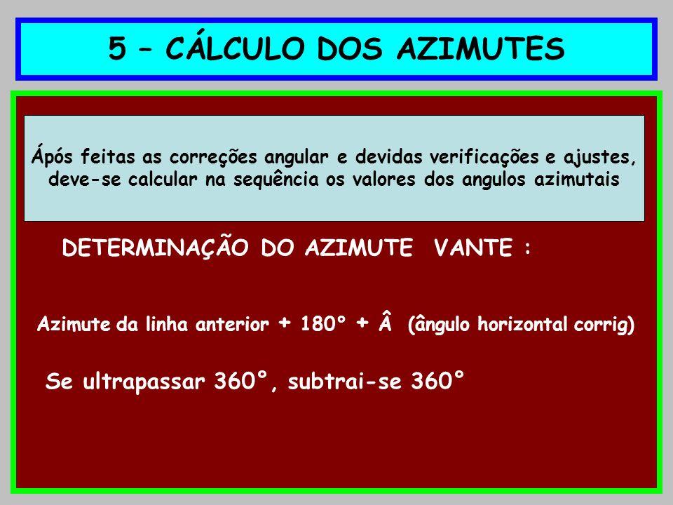 5 – CÁLCULO DOS AZIMUTES DETERMINAÇÃO DO AZIMUTE VANTE :