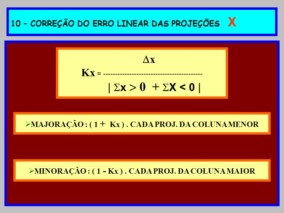 10 – CORREÇÃO DO ERRO LINEAR DAS PROJEÇÕES X
