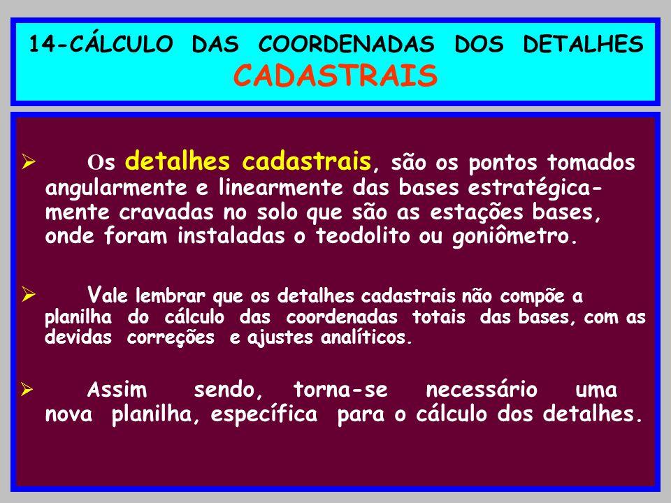14-CÁLCULO DAS COORDENADAS DOS DETALHES CADASTRAIS