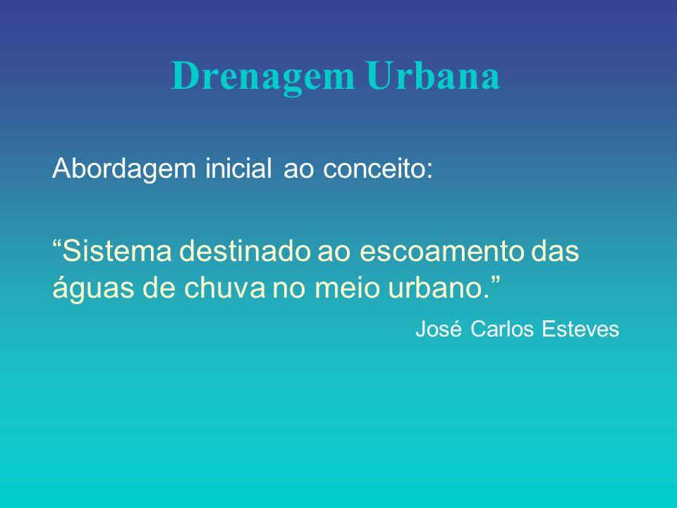 Drenagem Urbana Abordagem inicial ao conceito: Sistema destinado ao escoamento das águas de chuva no meio urbano.