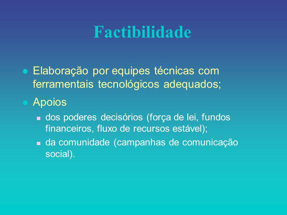 FactibilidadeElaboração por equipes técnicas com ferramentais tecnológicos adequados; Apoios.