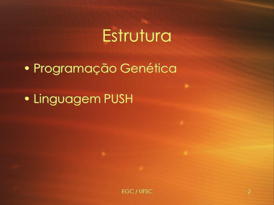 Estrutura Programação Genética Linguagem PUSH EGC / UFSC
