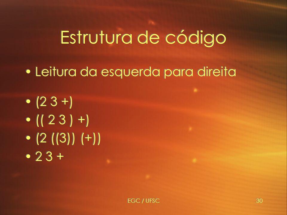 Estrutura de código Leitura da esquerda para direita (2 3 +)