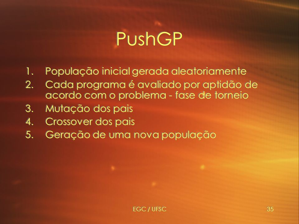 PushGP População inicial gerada aleatoriamente
