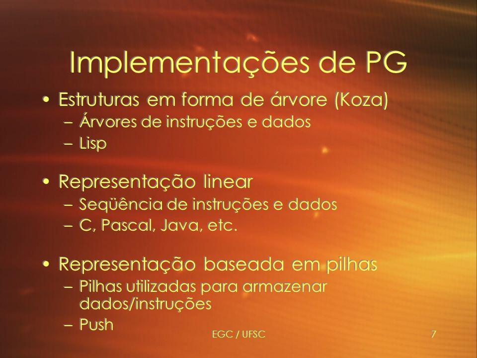 Implementações de PG Estruturas em forma de árvore (Koza)