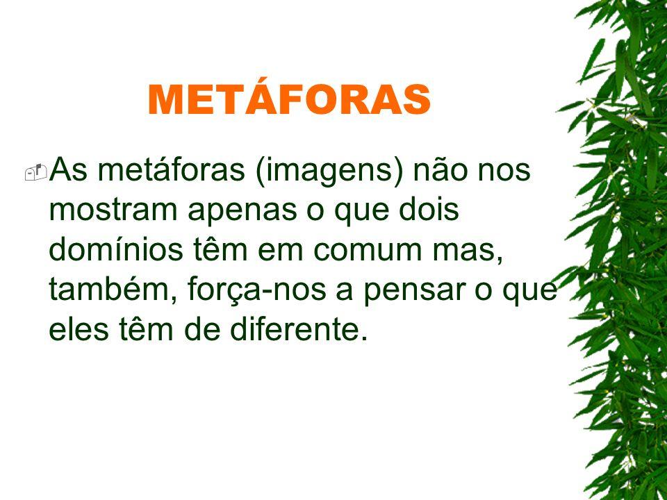METÁFORASAs metáforas (imagens) não nos mostram apenas o que dois domínios têm em comum mas, também, força-nos a pensar o que eles têm de diferente.