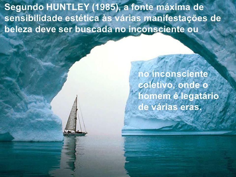Segundo HUNTLEY (1985), a fonte máxima de sensibilidade estética às várias manifestações de beleza deve ser buscada no inconsciente ou