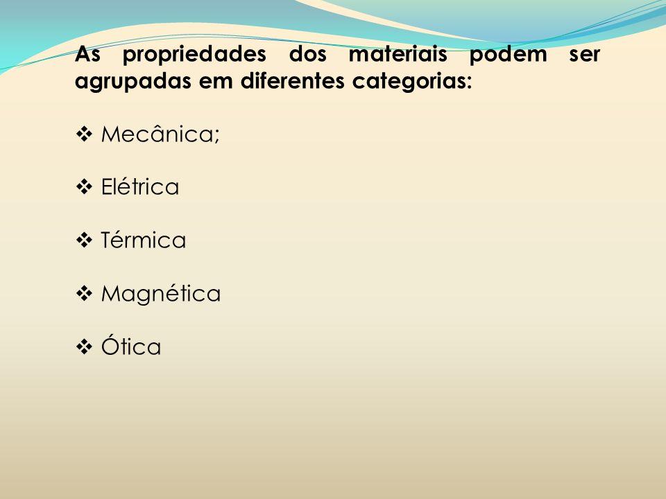 As propriedades dos materiais podem ser agrupadas em diferentes categorias: