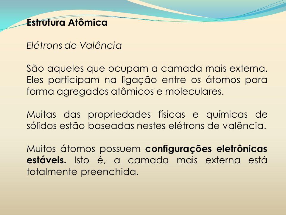 Estrutura Atômica Elétrons de Valência.