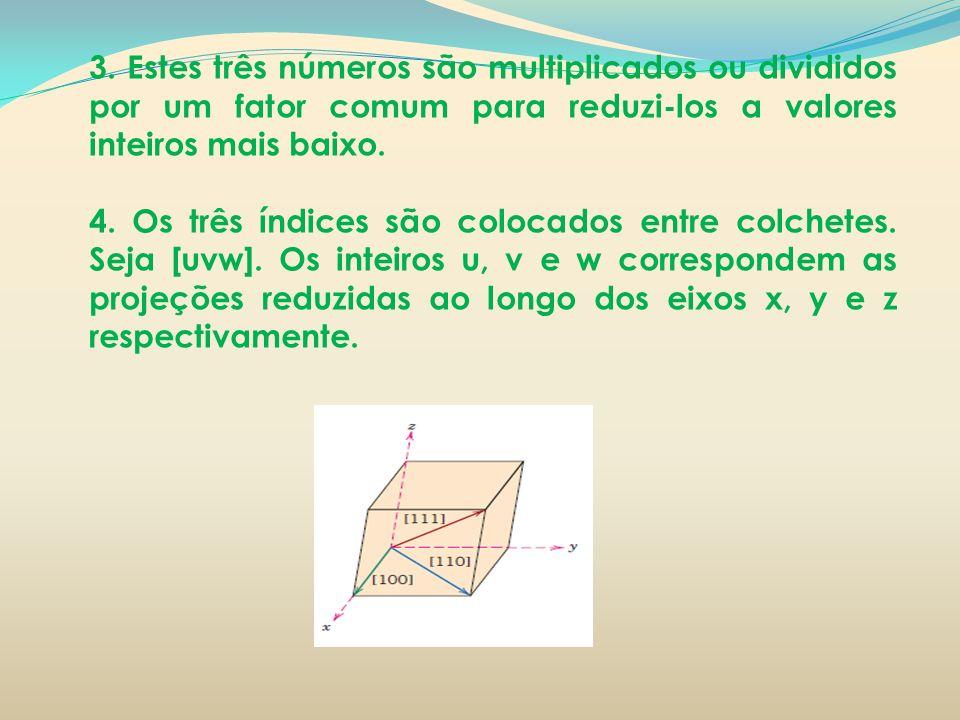 3. Estes três números são multiplicados ou divididos por um fator comum para reduzi-los a valores inteiros mais baixo.