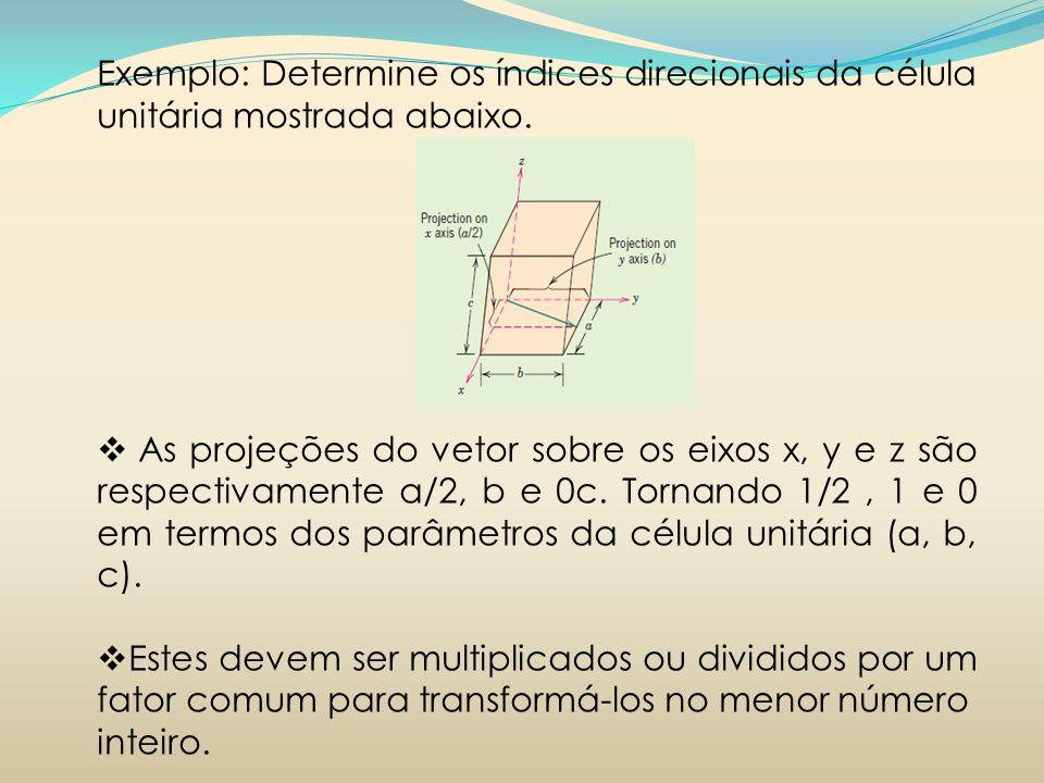 Exemplo: Determine os índices direcionais da célula unitária mostrada abaixo.