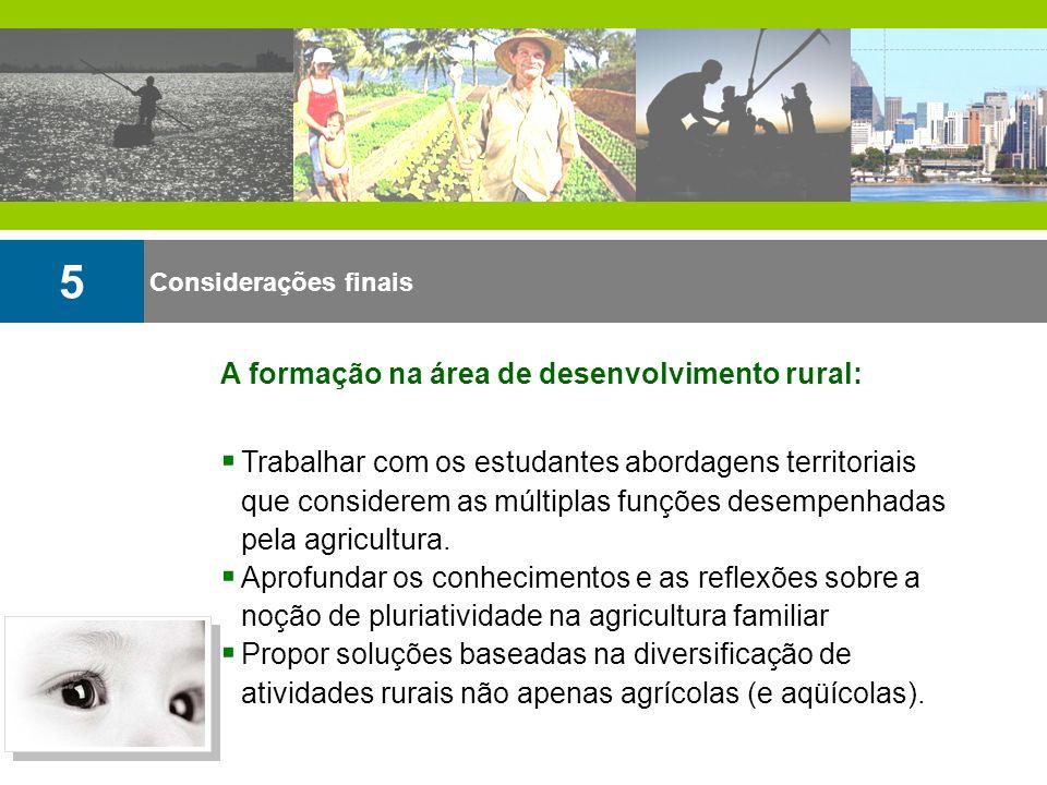 5 A formação na área de desenvolvimento rural: