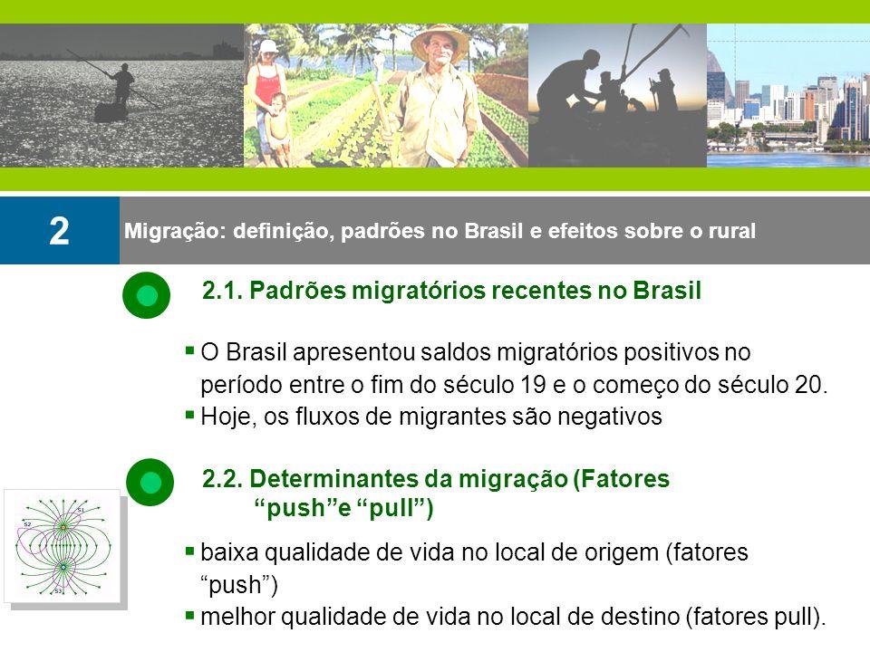 2 2.1. Padrões migratórios recentes no Brasil
