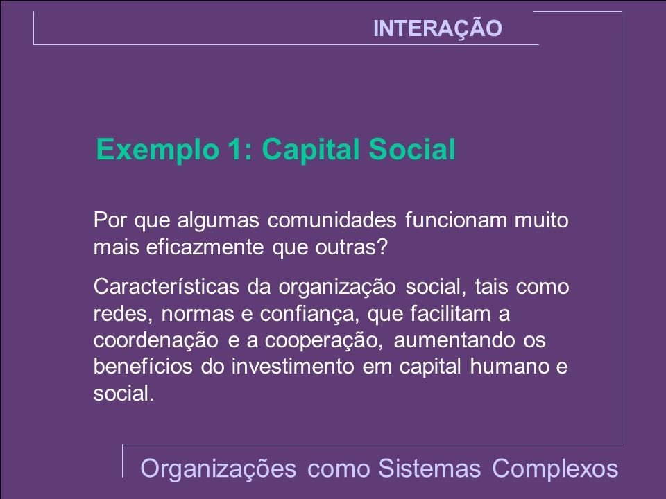 Exemplo 1: Capital Social