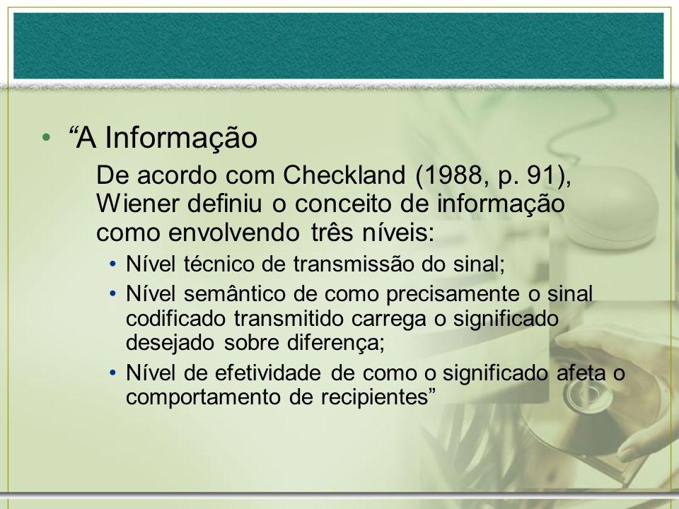 A Informação De acordo com Checkland (1988, p. 91), Wiener definiu o conceito de informação como envolvendo três níveis: