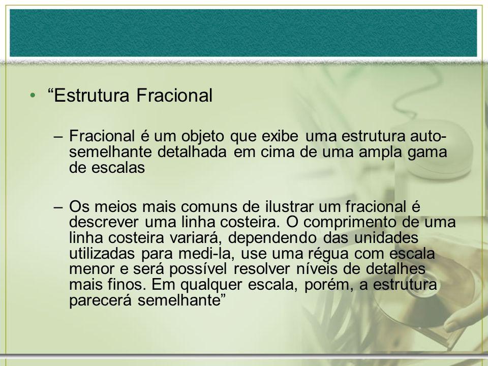 Estrutura FracionalFracional é um objeto que exibe uma estrutura auto-semelhante detalhada em cima de uma ampla gama de escalas.