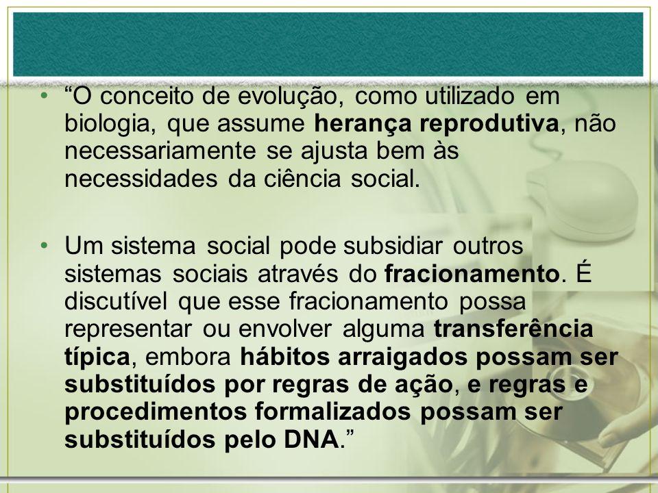 O conceito de evolução, como utilizado em biologia, que assume herança reprodutiva, não necessariamente se ajusta bem às necessidades da ciência social.