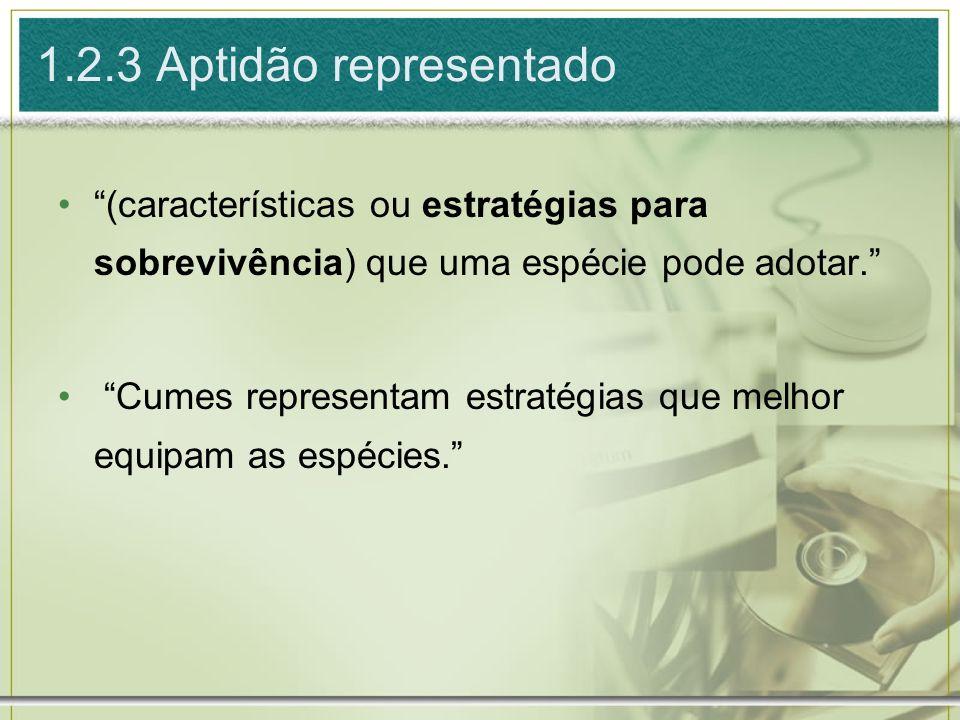 1.2.3 Aptidão representado (características ou estratégias para sobrevivência) que uma espécie pode adotar.