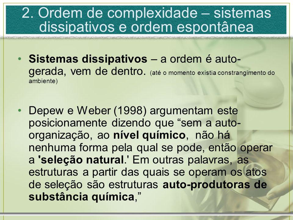 2. Ordem de complexidade – sistemas dissipativos e ordem espontânea