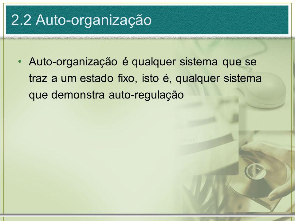 2.2 Auto-organizaçãoAuto-organização é qualquer sistema que se traz a um estado fixo, isto é, qualquer sistema que demonstra auto-regulação.