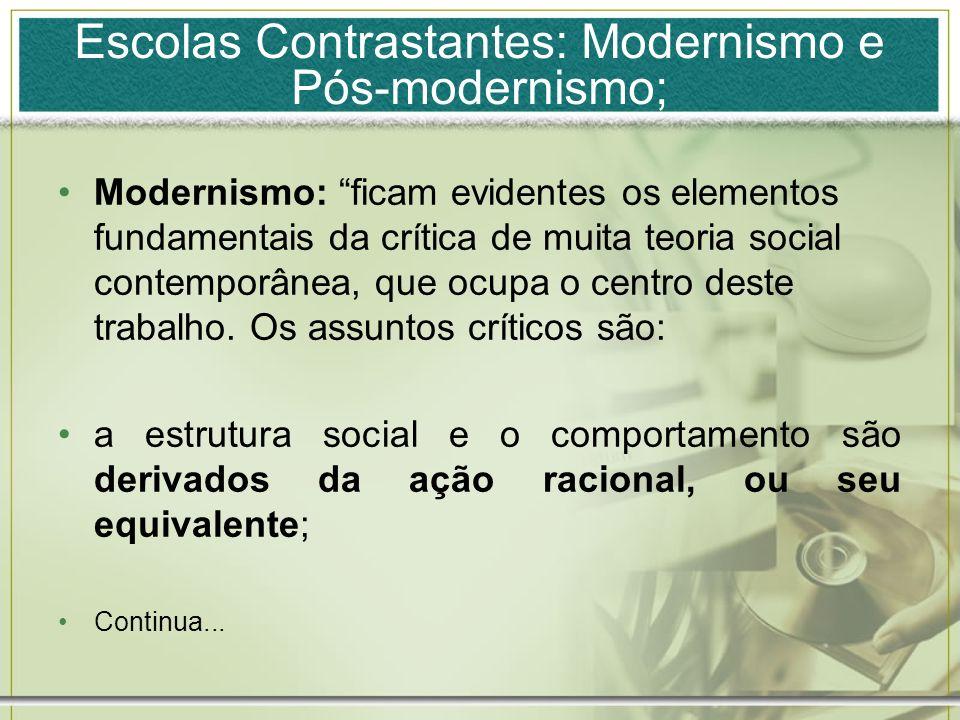 Escolas Contrastantes: Modernismo e Pós-modernismo;