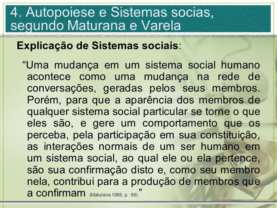 4. Autopoiese e Sistemas socias, segundo Maturana e Varela