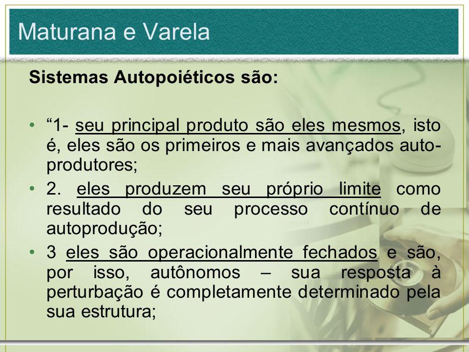 Maturana e Varela Sistemas Autopoiéticos são: