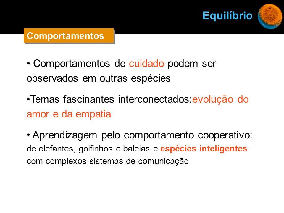 EquilíbrioComportamentos. Comportamentos de cuidado podem ser observados em outras espécies.