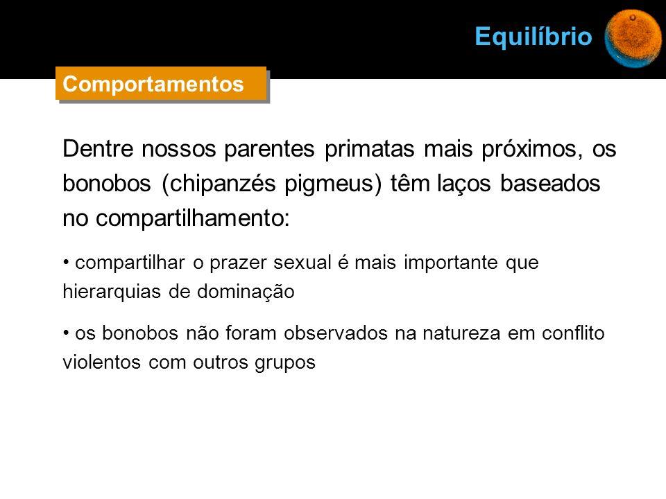 Equilíbrio Comportamentos. Dentre nossos parentes primatas mais próximos, os bonobos (chipanzés pigmeus) têm laços baseados no compartilhamento:
