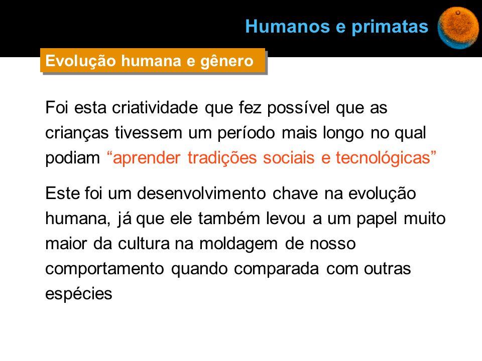 Humanos e primatas Evolução humana e gênero.