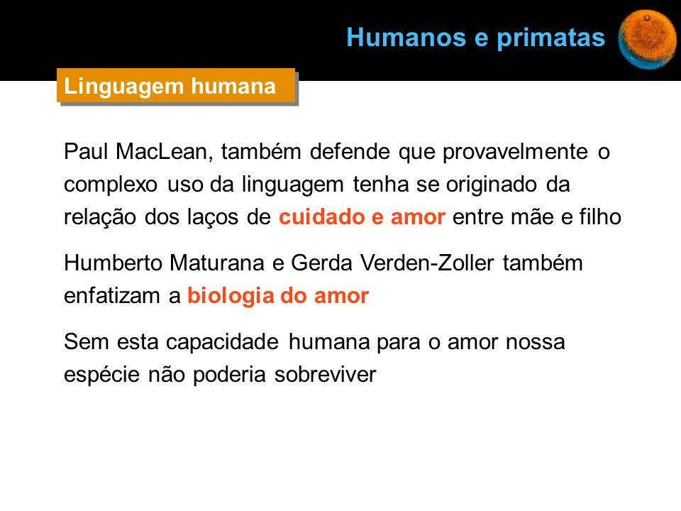 Humanos e primatas Linguagem humana Linguagem humana