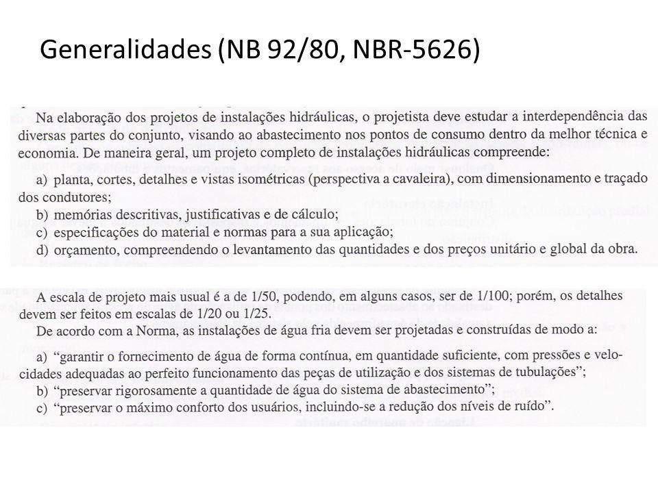 Generalidades (NB 92/80, NBR-5626)