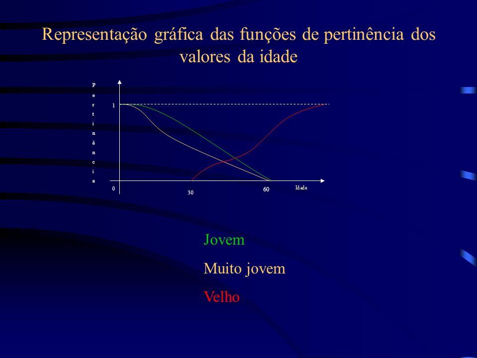 Representação gráfica das funções de pertinência dos valores da idade