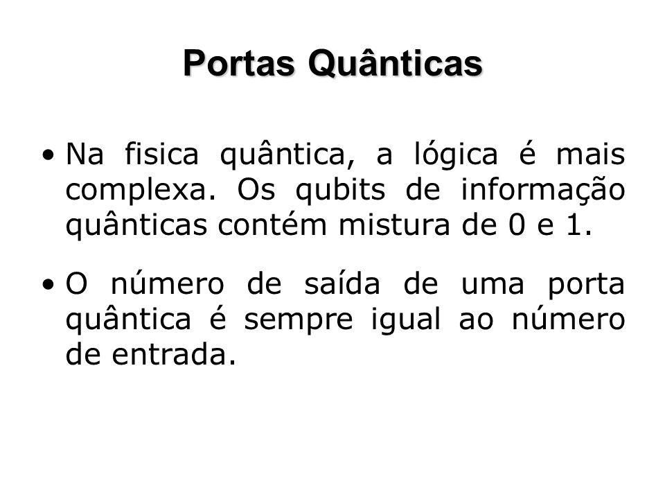 Portas Quânticas Na fisica quântica, a lógica é mais complexa. Os qubits de informação quânticas contém mistura de 0 e 1.