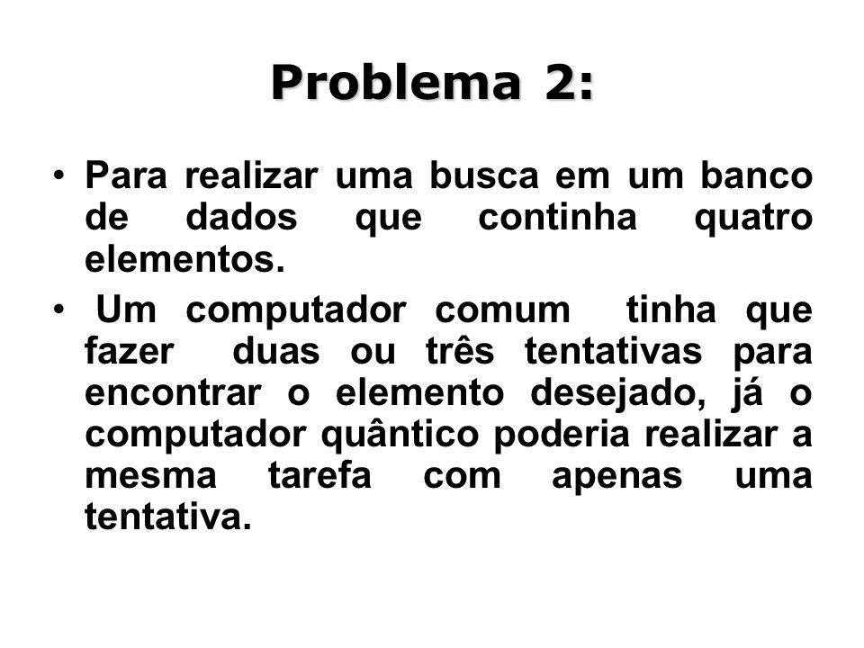 Problema 2: Para realizar uma busca em um banco de dados que continha quatro elementos.