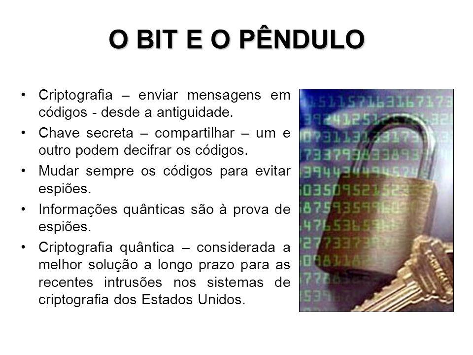 O BIT E O PÊNDULO Criptografia – enviar mensagens em códigos - desde a antiguidade.