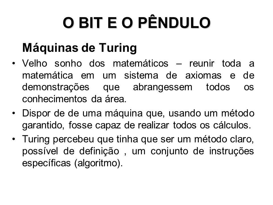 O BIT E O PÊNDULO Máquinas de Turing