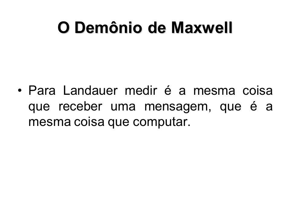 O Demônio de Maxwell Para Landauer medir é a mesma coisa que receber uma mensagem, que é a mesma coisa que computar.