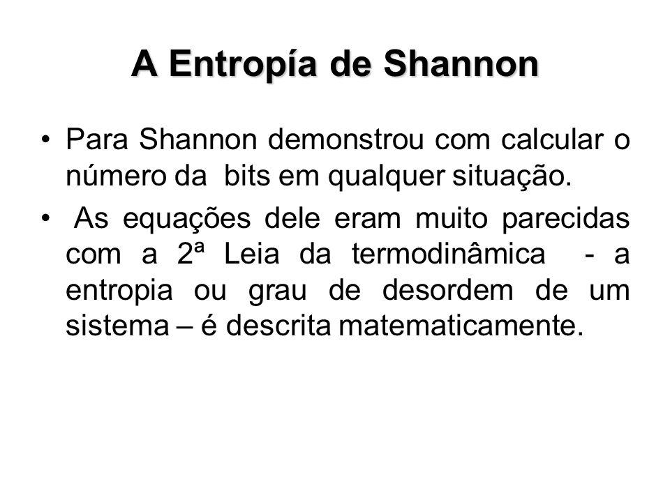 A Entropía de Shannon Para Shannon demonstrou com calcular o número da bits em qualquer situação.