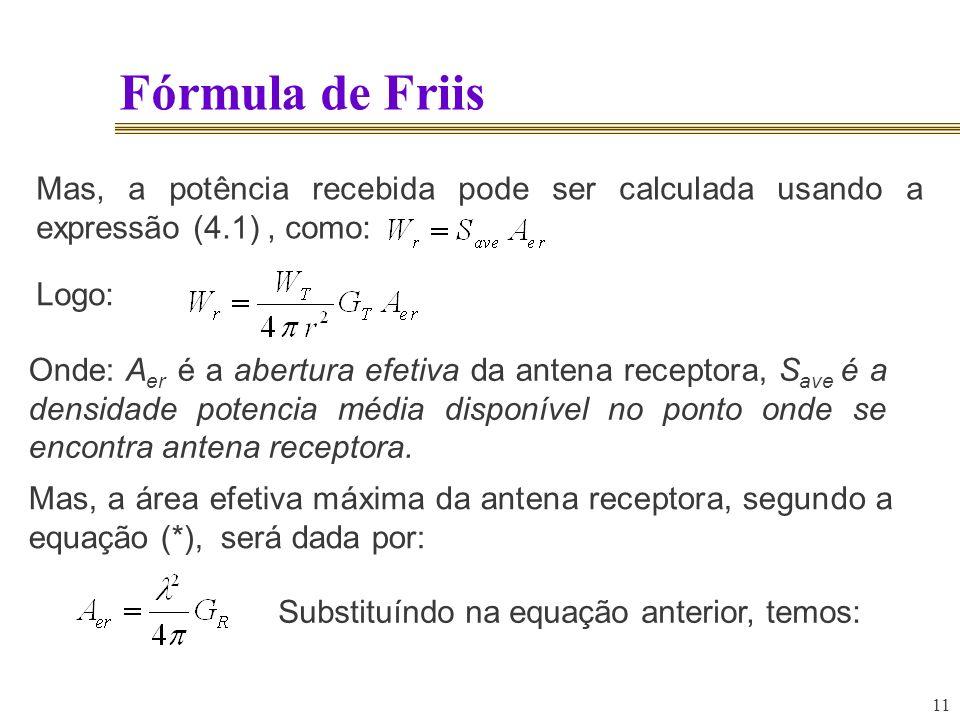 Fórmula de Friis Mas, a potência recebida pode ser calculada usando a expressão (4.1) , como: Logo: