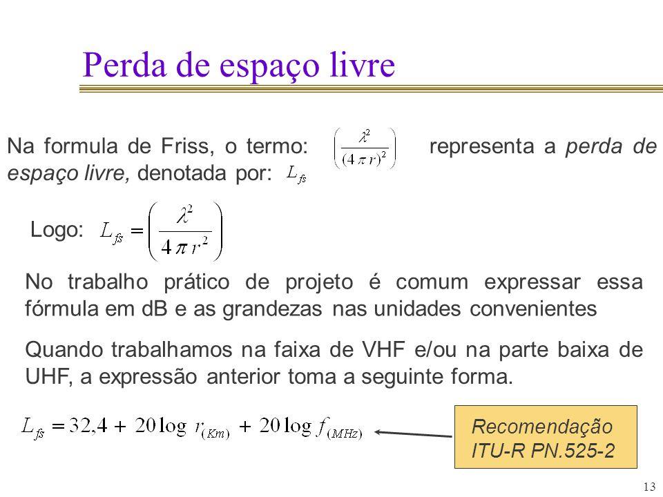 Perda de espaço livre Na formula de Friss, o termo: representa a perda de espaço livre, denotada por:
