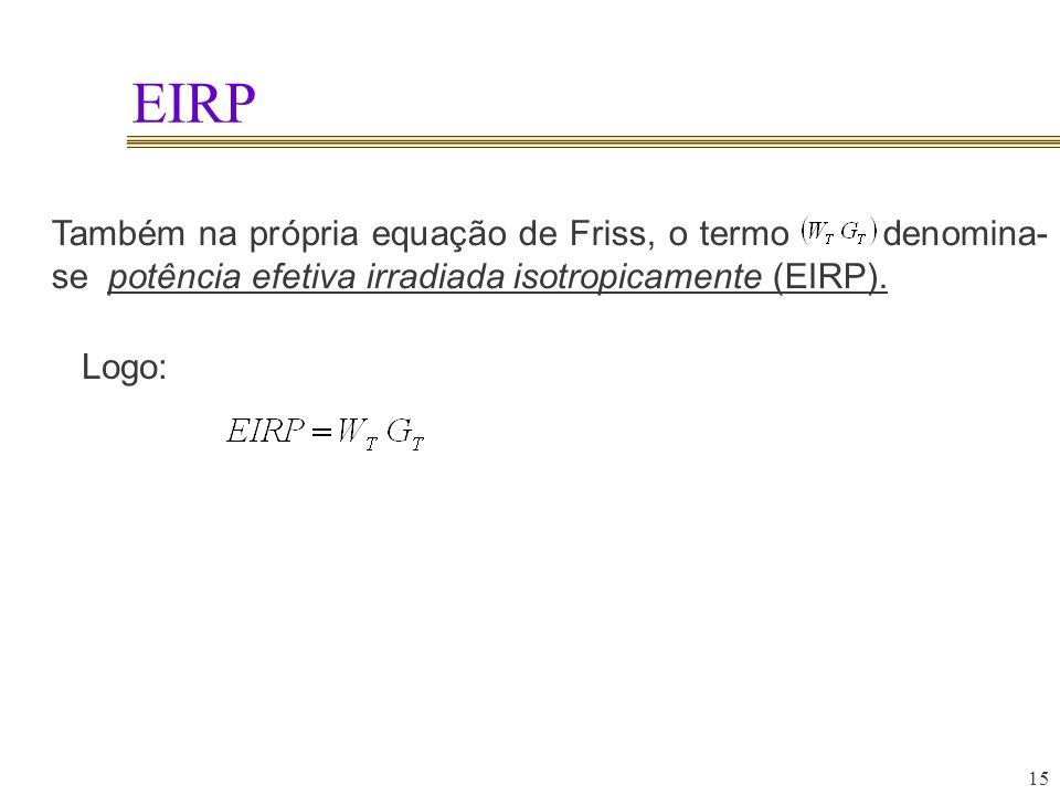 EIRP Também na própria equação de Friss, o termo denomina-se potência efetiva irradiada isotropicamente (EIRP).