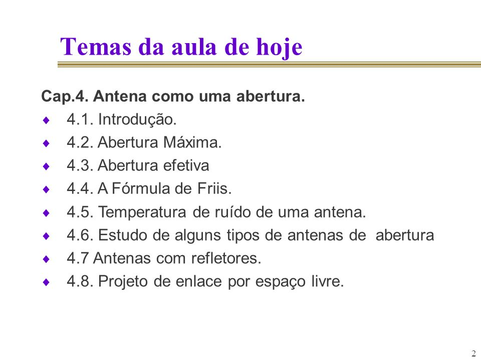 Temas da aula de hoje Cap.4. Antena como uma abertura.