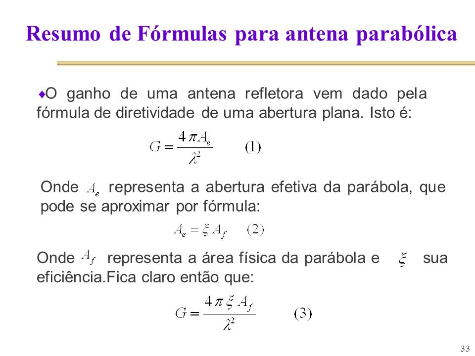 Resumo de Fórmulas para antena parabólica