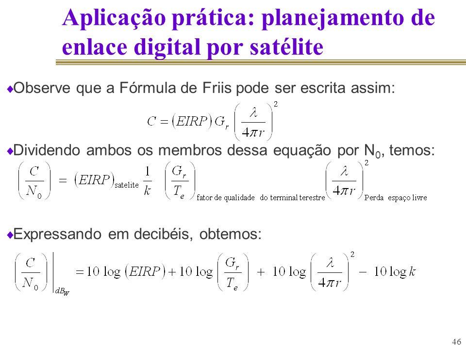 Aplicação prática: planejamento de enlace digital por satélite