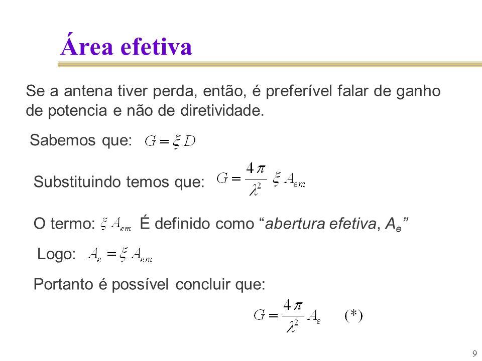 Área efetiva Se a antena tiver perda, então, é preferível falar de ganho de potencia e não de diretividade.